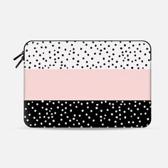 Pink white black watercolor polka dots Macbook Pro 13 Case by Pink Water | Casetify