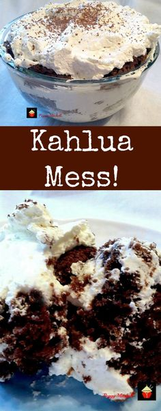 Kahlua Mess..This is one awesome dessert! A delicious chocolate trifle laced with Kahlua throughout. Easy to make cake recipe.Options for non alcohol as well!