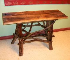 Walnut sofa console hall entry Table with shelf Log Cabin Furniture by J. Wade Free Shipping on Etsy, Sold