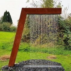 Customized Corten Steel Rain Curtain Garden Fountain Manufacturers, Suppliers - Factory Direct Price - Anhuilong Note: Home hub Sure, home is where in actu Outdoor Water Features, Water Features In The Garden, Wall Water Features, Garden Water Fountains, Water Garden, Water Wall Fountain, Water Fountain Design, Fountain Garden, Fountain Ideas
