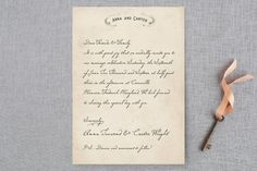 """Vintage Letter"" - Vintage Wedding Invitations in Parchment by Erin Pescetto."