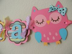 Owl Birthday Party Name Banner  Pink Teal by sweetheartpartyshop, $20.00