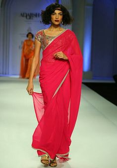 Plain saree with heavy work on blouse
