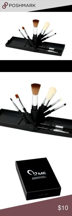Makeover Essentials Brush Fan Compact Travel Set A set of 8 mini brushes in a fold out black case, it includes all the brushes one would need for quick touch ups on the go. Each in their very own, customized slot. Contains all the professional tools you need to achieve a multitude of looks – with just a flip of the brush. Perfect for travel!  Set includes: Contour brush Powder brush Eye Shadow brush Eye Liner brush Eye Applicator brush Comb Lip Brush Smudge brush Makeup Forever Makeup…