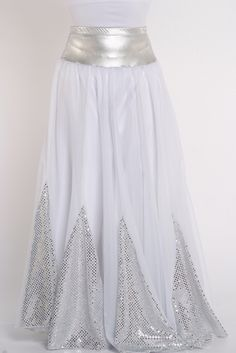 Sequin Insert 10 Panel Denier Double Circle Skirt (Not Sheer) Elastic Waist Note: Measure Length from Waist to Ankle Sideways (Outseam) Praise Dance Wear, Praise Dance Dresses, Worship Dance, Dance Oriental, Belly Dance Costumes, Dance Outfits, Sequins, Designer Dresses, Tambourine