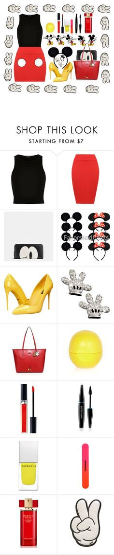 """""""DIY halloween costume; Mickey Mouse"""" by gaiads ❤ liked on Polyvore featuring River Island, WearAll, Coach, Dolce&Gabbana, Christian Dior, MAKE UP FOR EVER, Givenchy, Tweezerman, Estée Lauder and Anya Hindmarch"""