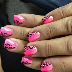 Hot pink cheetah acrylic nails