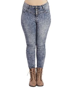 High Waisted Acid Wash Skinny | Wet Seal+ #jeans #denim #plussize #curvy