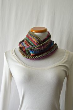 Colorful Merino Infinity Scarf / One of a Kind by HanksAndNeedles