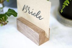 10 x wood place card holders timber name card holders wood table numbers ta Wedding Name Cards, Card Box Wedding, Name Card Holder, Place Card Holders, Beach Wedding Favors, Wedding Souvenir, Table Name Cards, Menu Holders, Gift Table