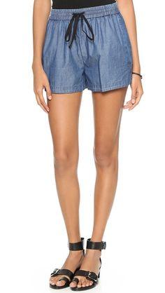Robert Rodriguez chambray track shorts (more denim shorts here http://chicityfashion.com/denim-shorts-2/)