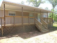 Custom Wood Deck And Cover For Manufactured Home Mobile