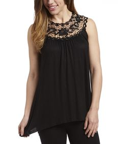 Look at this Black Crochet Yoke Top on #zulily today!