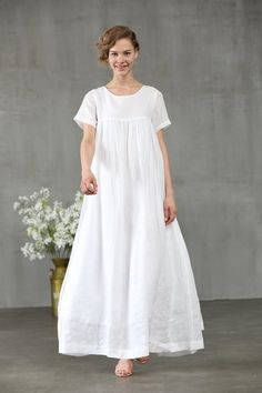 white dress maxi dress linen dress short sleeve dress white linen dress for women. 【Characteristic】 Extravagant flattering loose dress , so elegant and comfy . Perfect solution for your everyday outfit:) . White Linen Dresses, Elegant Dresses, Casual Dresses, White Dress, Short Sleeve Dresses, Summer Dresses, Mode Outfits, Dress Outfits, Chifon Dress