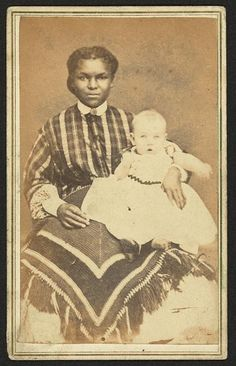 Mary Allen Watson, 15, June, 1866; Disbrow & Few, Albion, NY, photographers; African American woman holding baby - identified on back of photograph