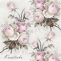 Servítka 25 x 25 cm - Ružové vintage kytičky