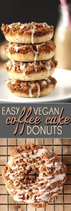 Vegan Coffee Cake Donuts Coffee cake and donuts collide in these amazing vegan donuts! Super easy to make and incredibly delicious!Coffee cake and donuts collide in these amazing vegan donuts! Super easy to make and incredibly delicious! Healthy Vegan Dessert, Coconut Dessert, Vegan Dessert Recipes, Donut Recipes, Vegan Treats, Vegan Foods, Vegan Dishes, Vegan Donut Recipe, Cake Donut Recipe Baked