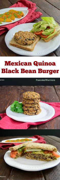 Healthy Mexican Quinoa Black Bean Burgers - Quick, easy Mexican inspiraed veggie burgers - only 8 ingredients! Vegan, low fat, gluten free!