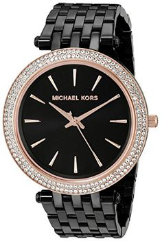 Michael Kors Womens Darci MK3407 Rose GoldTone CrystalStudded Watch with Black Bracelet ** Check out this great product.