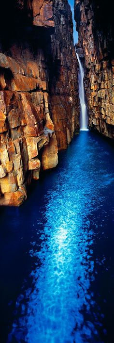Beautiful waterfall into a sapphire pool - Kimberley coast gorge, Western Australia Beautiful Waterfalls, Beautiful Landscapes, Oh The Places You'll Go, Places To Travel, Vacation Places, Beautiful World, Beautiful Places, Beautiful Joe, Beautiful Pictures
