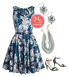 """""""Luck Be a Lady Dress in Blue Garden"""" by modcloth ❤ liked on Polyvore featuring мода и Closet London"""