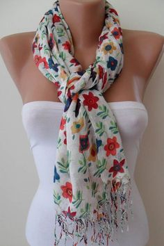 White and Flowered Scarf by SwedishShop on Etsy, $13.90