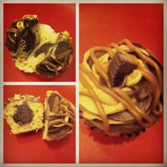 Homemade peanut butter cupcake with chocolate ganache filling, chocolate buttercream frosting, peanut butter frosting, peanut butter marshmallow drizzle, and a lil bit o' Reese's cup :) Made by Becca and Alicia Miller.  Mmmmm good :)
