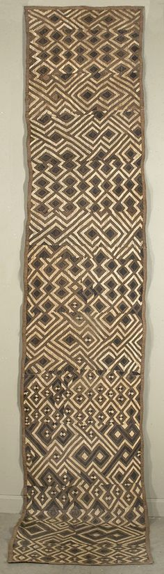 Africa | Ndengese skirt from the Kuba people of DR Congo | Raffia with flat stitching African Textiles, African Fabric, Textile Prints, Textile Design, Tribal Patterns, African Patterns, African Traditions, Art Africain, Global Design