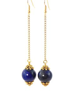 Lapis Lazuli Long Gold Dangle Earrings (Clip On Optional) by KMagnifiqueDesigns on Etsy