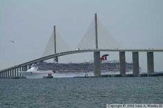Cruise ship going beneath the Sunshine Skyway Bridge. Vintage Florida, Old Florida, Sunshine Skyway Bridge, Tampa Bay Area, Saint Petersburg, Bridges, Graham, Cruise, Saints