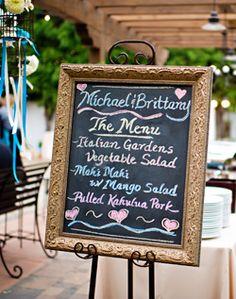 love the chalkboard stating the menu