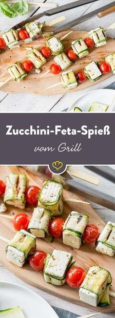What could grilled zucchini do better? Creamy feta, of course! These zucchini feta skewers from the grill are our new favorite! What could grilled zucchini do better? Creamy feta, of course! These zucchini feta skewers from the grill are our new favorite! Barbecue Recipes, Grilling Recipes, Cooking Recipes, Slow Cooking, Cooking Ribs, Grilling Ideas, Barbecue Sauce, Tapas, Law Carb