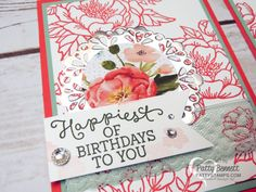 Stampin Up! Birthday Blooms stamp set and Birthday Bouquet designer paper NEW from the Occasions 2016 catalog.  I made these cards for our OnStage event in San Diego. Birthday, friend and for you greetings included in the stamp set.