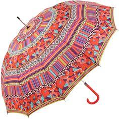 New World Textile Print Walking Length Umbrella - Red - Brolliesgalore