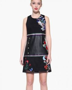 DESIGUAL Dress GERALDINE 17WWVWD0 Black Leather Floral Embroidery |