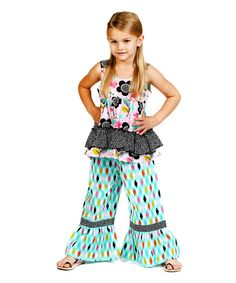 Look at this Aqua Printemps Emily Tunic & Pants - Infant, Toddler & Girls on #zulily today!