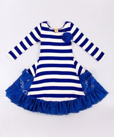 Loving this Royal Blue & White Stripe Twirl Dress - Toddler & Girls on #zulily! #zulilyfinds