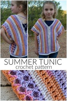 Summer Tunic Crochet Pattern - The free pattern is a great lightweight, kid's summer top! But it could easily be customized for an adult, too. Crochet Girls, Crochet Bebe, Crochet Baby Booties, Crochet Slippers, Crochet For Kids, Easy Crochet, Free Crochet, Crochet Tops, Crochet Bodycon Dresses
