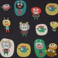 Happy Monsters In Dark BLue Tricot