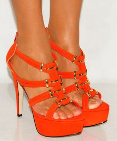 STRAPPY ORANGE HEEL SANDALS