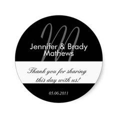 Wedding Bride and Groom Thank You Favor Sticker