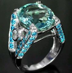 8.8CT Aquamarine, Blue Apatite, & White Sapphire Ring White Gold over 925 Solid Sterling Silver Sizes 5-9