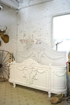 Queen or King French Bed Painted Cottage Shabby Chic French
