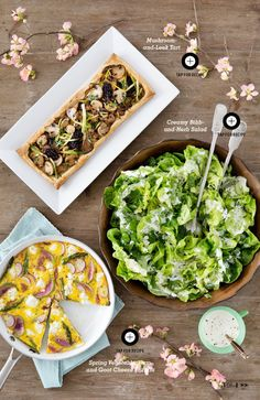 what's for easter brunch, you ask?! mushroom + leek tart. creamy bibb + herb salad. spring vegetable, ham and goat cheese frittata. all served on robin's egg blue, white + wood tabletop #Easter #Easterspread | calder clark© | @cshanephoto | as featured in @countryliving
