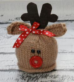 Image of Button Nose Reindeer - could just start with a crocheted hat