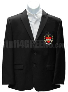 Black Phi Sigma Phi blazer jacket with the crest on the left breast.