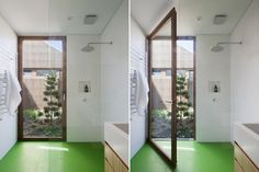 Nice big glass door from shower to courtyard - also interesting use of materials - rubber flooring and corian walling