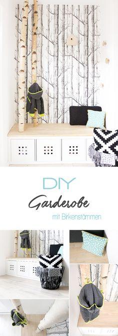 Dani von Gingered Things zeigt ihr wie ihr aus einem Kallax Regal von Ikea und Birkenstämmen eine tolle Garderobe im angesagten Skandi Look selbst bauen könnt.