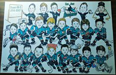 Recently created a HUGE drawing (24x36) of the San Jose Jr. Sharks Hockey Team, and their coaches! March, 2017
