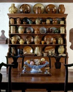 Antique Redware pottery in the Cogswell's Grant house in Essex, MA